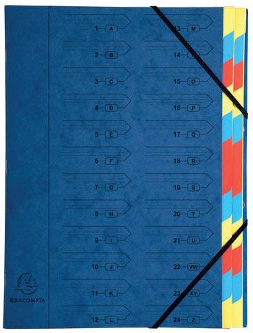 Exacompta sorteermap met vaste rug en elastieken, 24 vakken, blauw