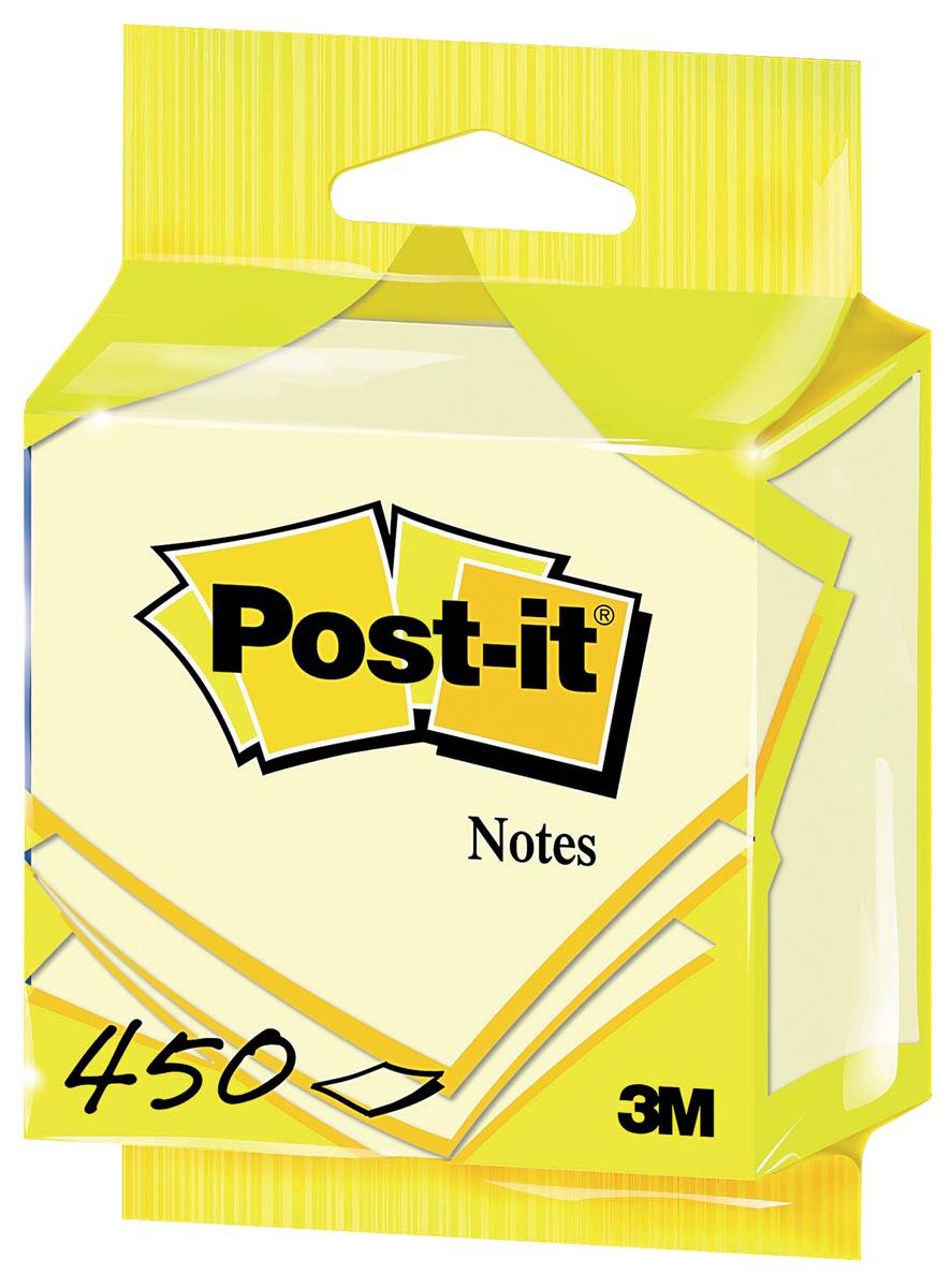 Post-it Notes kubus ft 76 x 76 mm, geel, blok van 450 vel, op blister