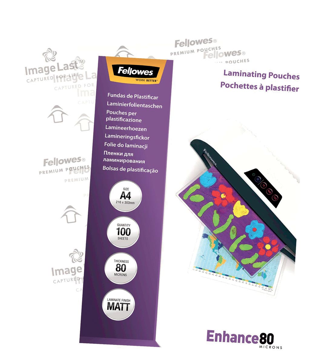 Fellowes lamineerhoes Enhance80 ft A4, 160 micron (2 x 80 micron), pak van 100 stuks, mat