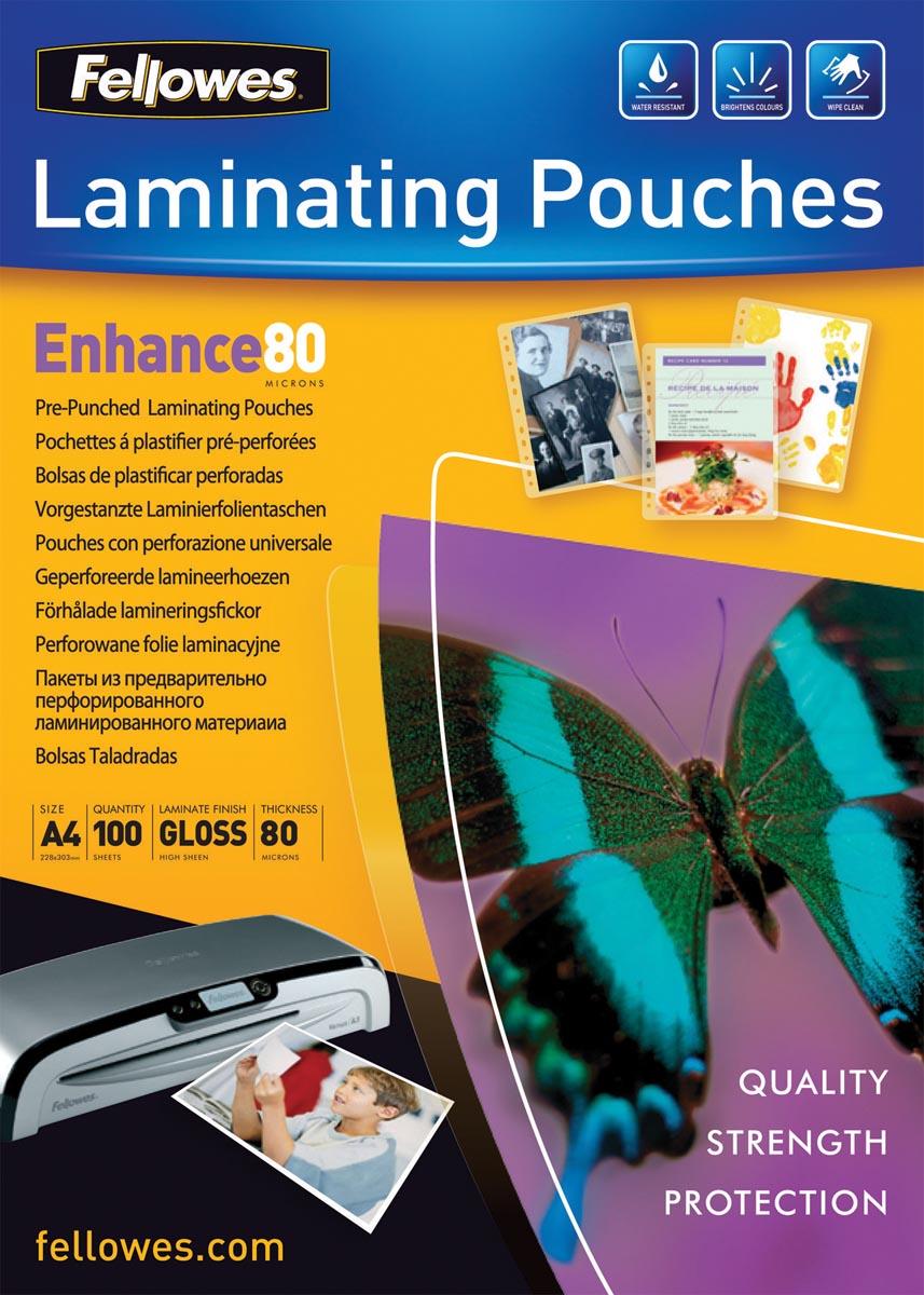 Fellowes lamineerhoes Enhance80 voorgeponst ft 228 x 303 mm, 160 micron (2 x 80 micron), pak van 100