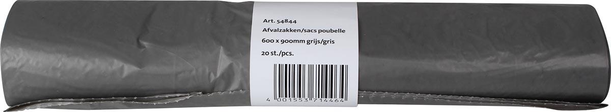 Vuilniszak 25 micron, ft 60 x 90 cm, grijs, rol van 20 stuks