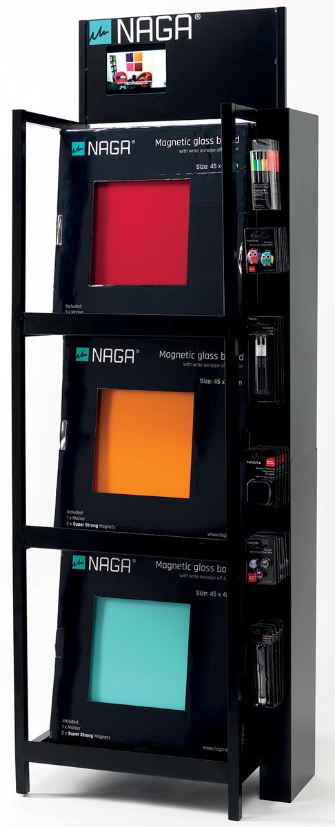 Naga lege display voor glasborden 45 x 45 cm, in metaal