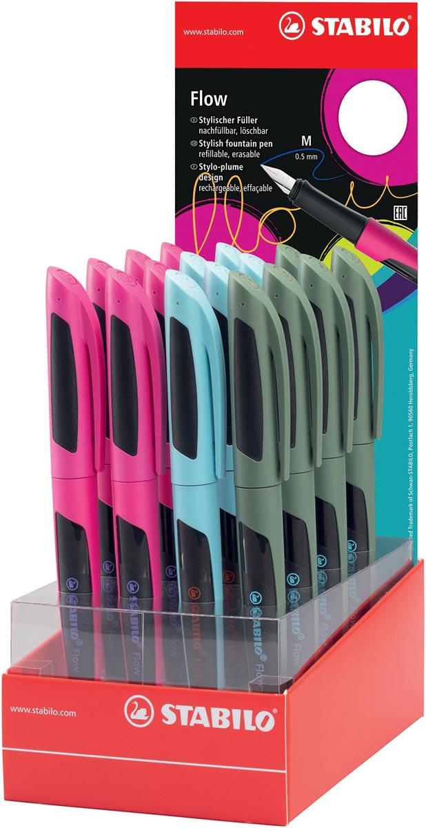 STABILO Flow SPORTY vulpen, display van 16 stuks in geassorteerde kleuren