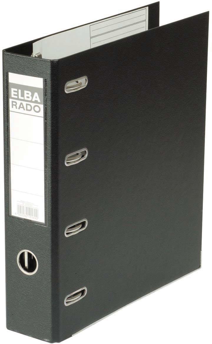 Elba Rado Plast ordner met dubbel mechaniek, zwart, rug van 8 cm