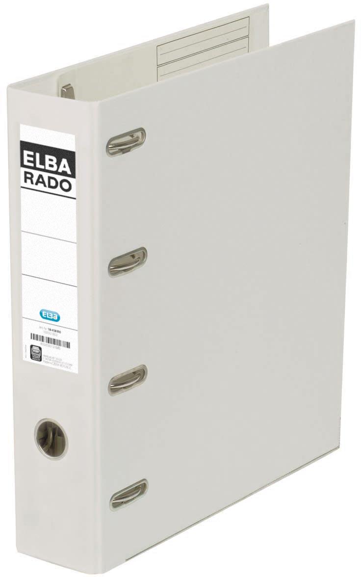 Elba Rado Plast ordner met dubbel mechaniek, wit, rug van 8 cm