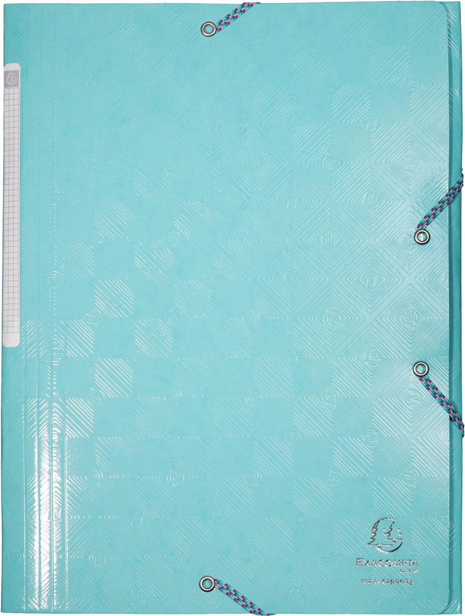 Exacompta elastomap 1928 met 3 kleppen, ft A4, met rugetiket, blauw