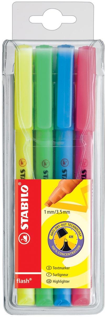 STABILO flash markeerstift, etui van 4 stuks in geassorteerde kleuren