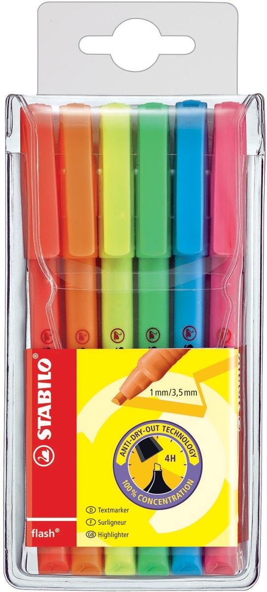 Stabilo markeerstift Flash, etui van 6 stuks in geassorteerde kleuren