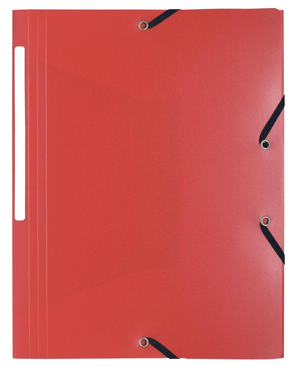 Exacompta elastomap A4, uit PP, 3 kleppen en elastiek rood