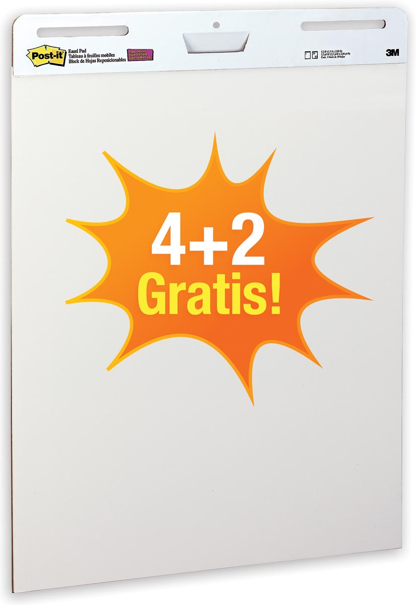 Post-it meeting chart, ft 63,5 x 77,5 cm, blanco, 30 vel, pak van 4 + 2 gratis