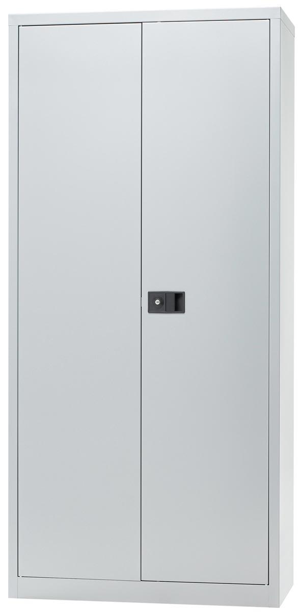 Afbeelding van Bisley draaideurkast, ft 195 x 91,4 x 40 cm (h x b x d), 4 legborden, zilverkleurig