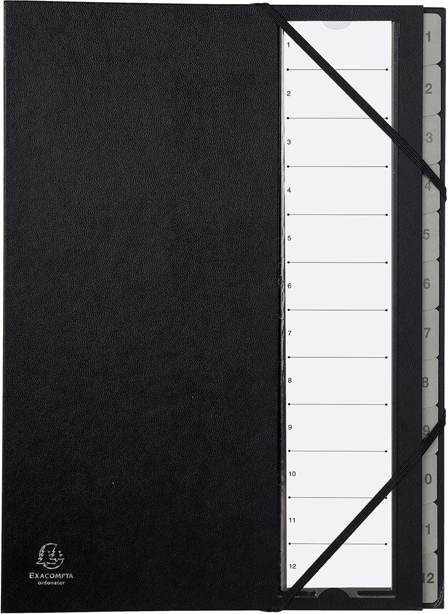 Exacompta sorteermap Ordonator met harde kaft, numeriek, uitrekbare rug, 12 vakken, zwart