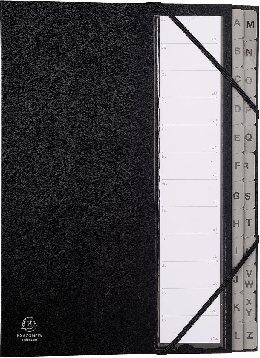 Exacompta sorteermap Ordonator met harde kaft, uitrekbare rug, 24 vakken A tot Z, zwart