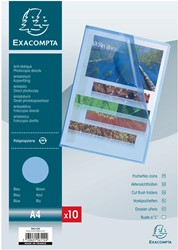 Exacompta showtas voor ft A4, uit PP, gekorreld, blauw, pak van 10 stuks