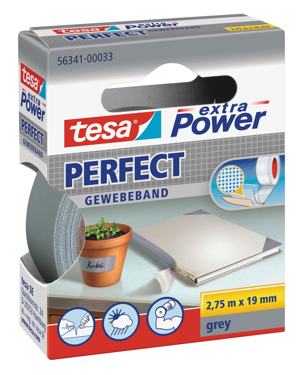 Tesa extra Power Perfect, ft 19 mm x 2,75 m, grijs
