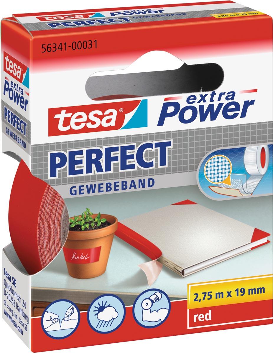 Plakband Tesa textiel 19mmx2.75m rood
