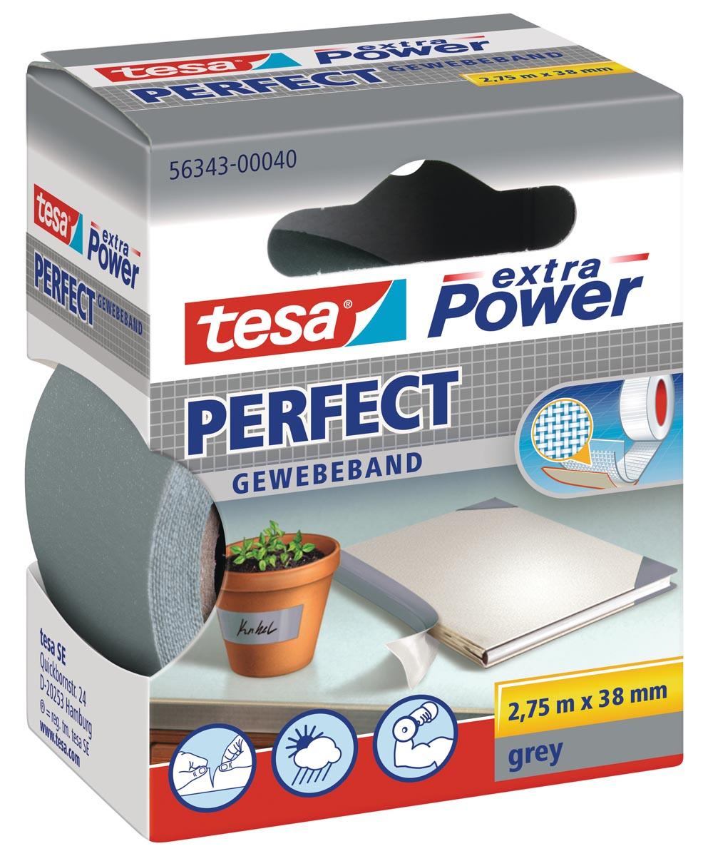 Tesa extra Power Perfect, ft 38 mm x 2,75 m, grijs