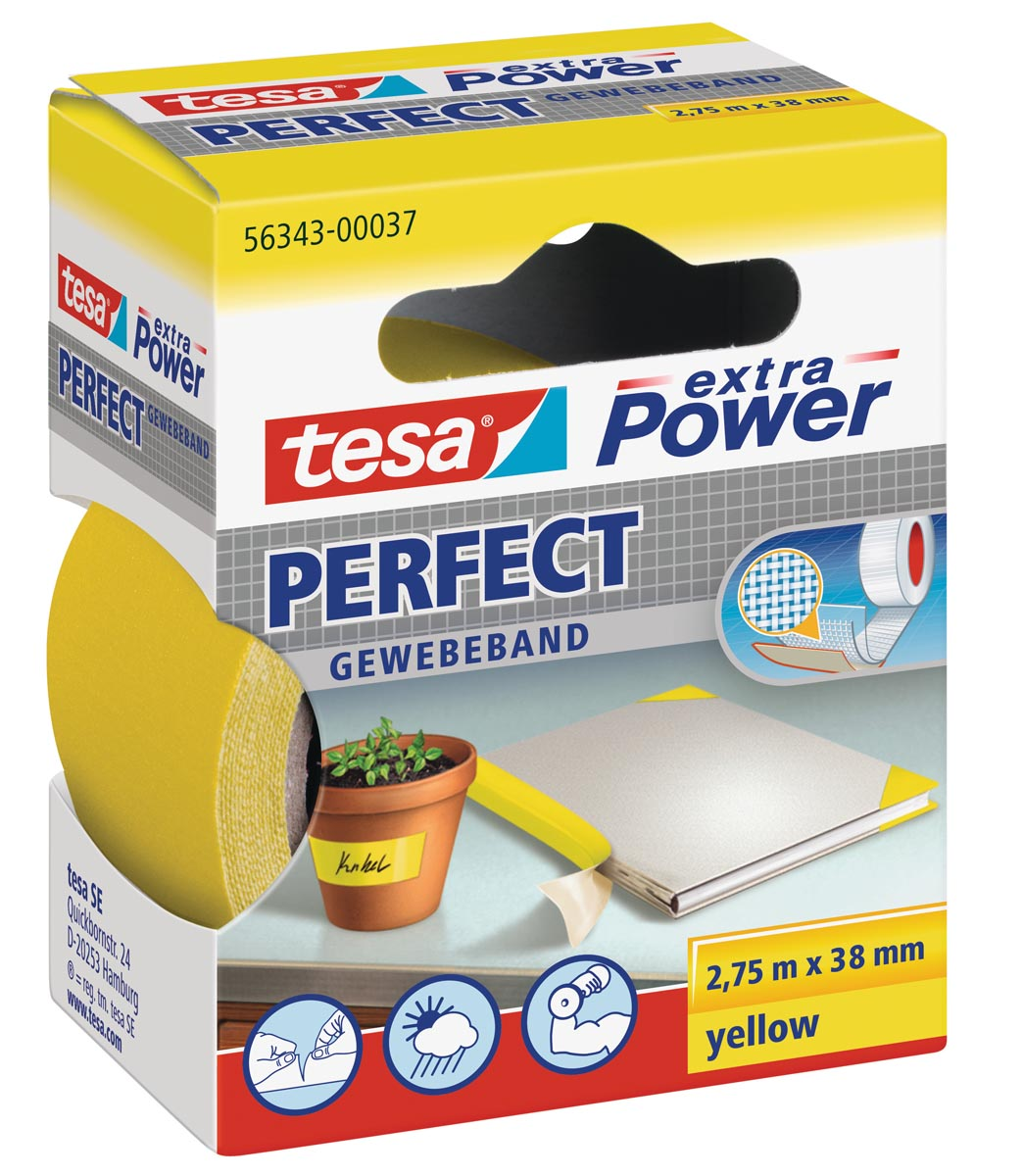 Tesa extra Power Pefect, ft 38 mm x 2,75 m, geel