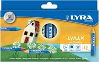Lyra Lyrax waskrijt, kartonnen etui met 12 stuks in geassorteerde kleuren
