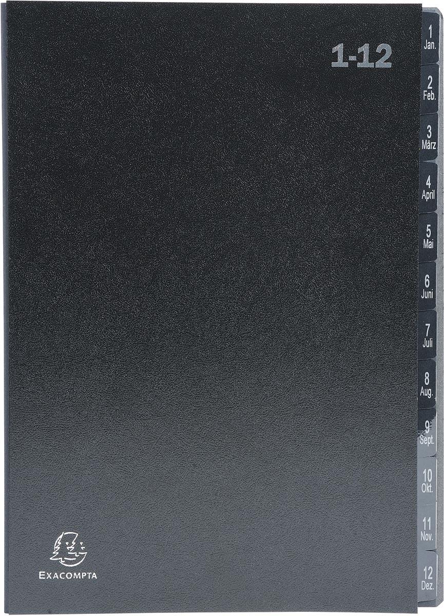 Exacompta sorteermap Ordonator 12 vakken met tabs 1-12, zwart