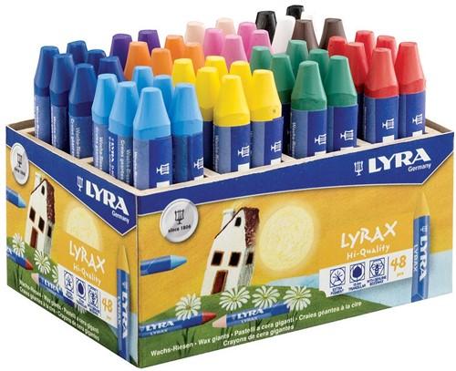 Lyra Lyrax waskrijt, schoolpack met 48 stuks in geassorteerde kleuren