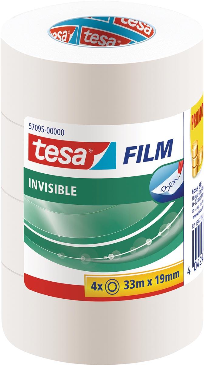 Tesafilm Invisible, ft 33 m x 19 mm, 3 + 1 rolletje gratis