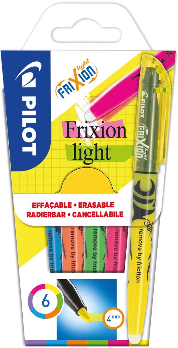 Pilot markeerstift Frixion Light, blister van 6 stuks in geassorteerde kleuren