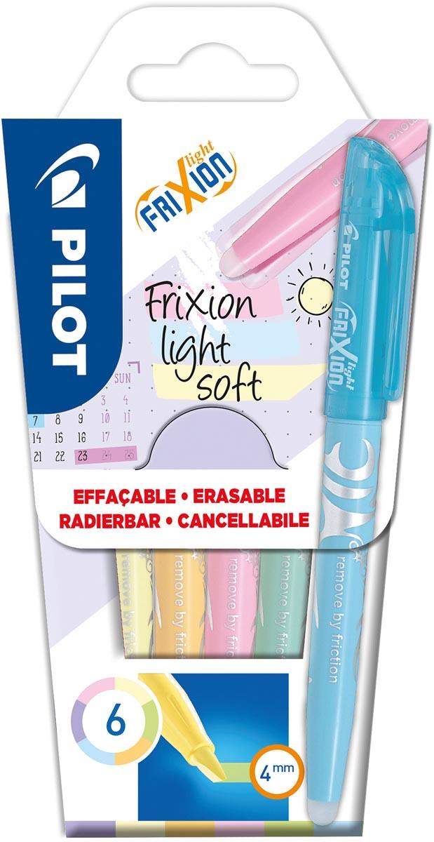 Pilot markeerstift Frixion Light Soft, blister van 6 stuks in geassorteerde kleuren