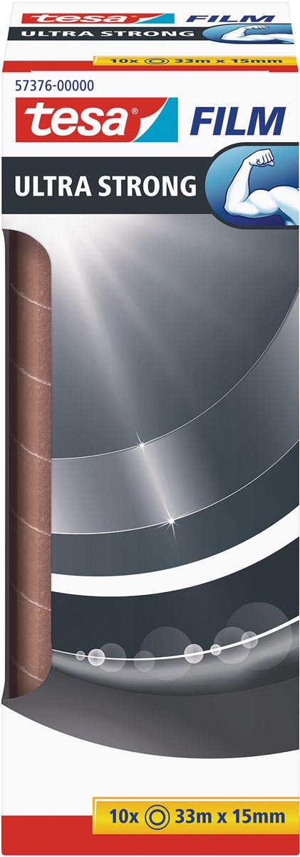Tesafilm Ultra-Strong, ft 33 m x 15 mm, toren van 10 rolletjes