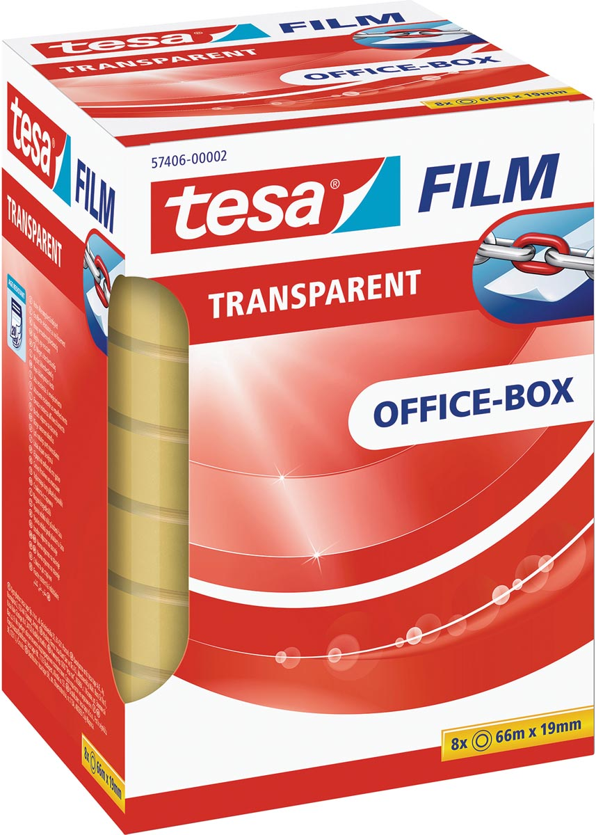 Tesafilm transparante tape, ft 19 mm x 66 m, 8 rolletjes