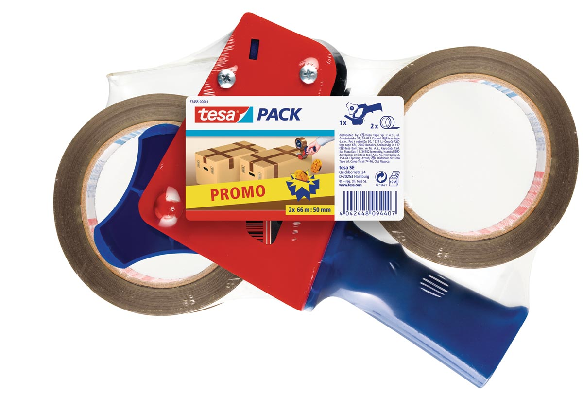Tesa afroller voor verpakkingsplakband van maximum 50 mm, inclusief 2 rollen PP tape ft 50 mm x 66 m