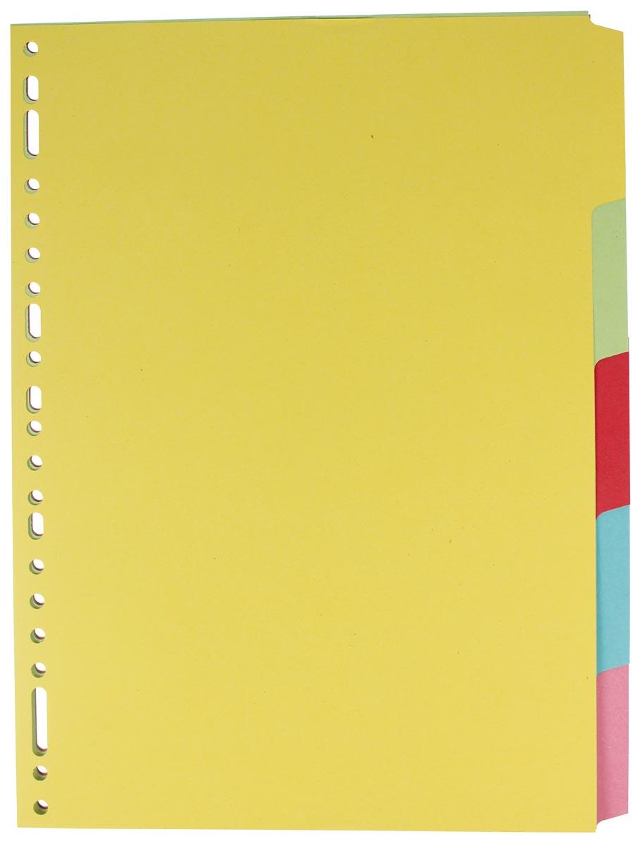 Elba Tabbladen uit karton, ft A4, 5 tabs, 23-gaatsperforatie, geassorteerde kleuren