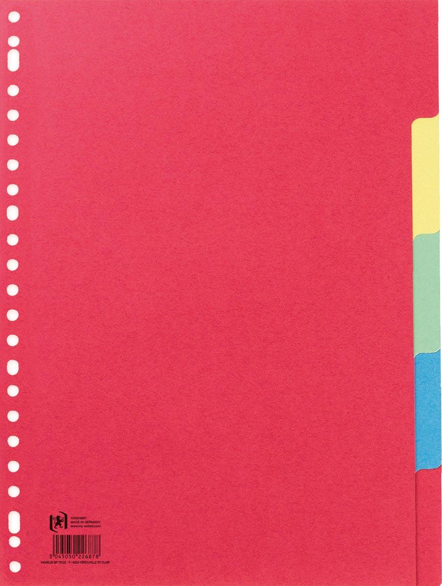 OXFORD tabbladen, formaat A4, uit karton, onbedrukt, 23-gaatsperforatie, geassorteerde kleuren, 5 ta