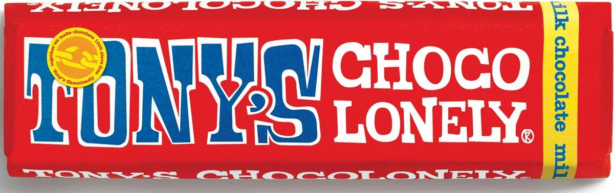 Tony's chocolonely chocolade, reep van 47 gram, melk