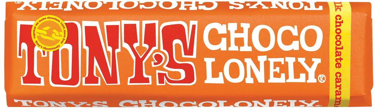 Tony's chocolonely chocolade, reep van 47 gram, melk karamel zeezout