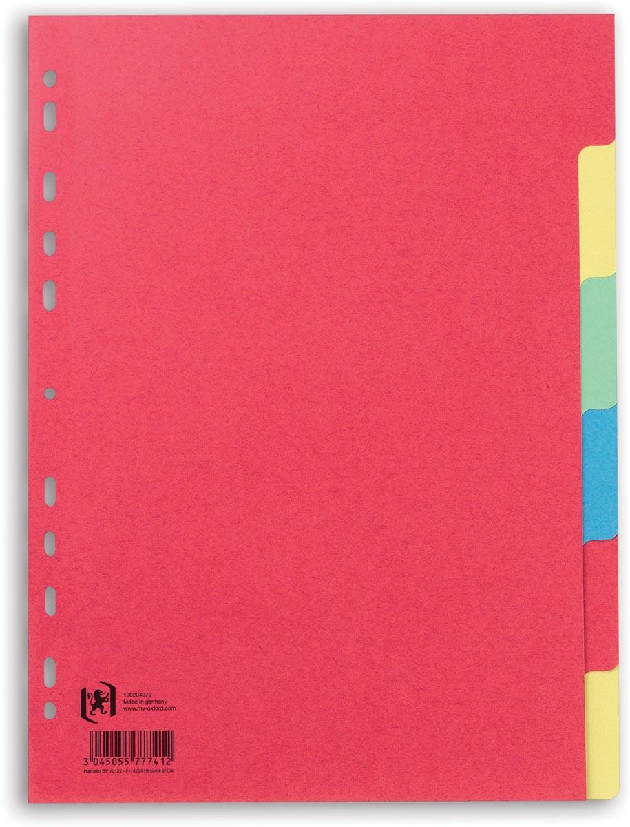 OXFORD tabbladen, formaat A4, uit karton, onbedrukt, 11-gaatsperforatie, geassorteerde kleuren, 6 ta