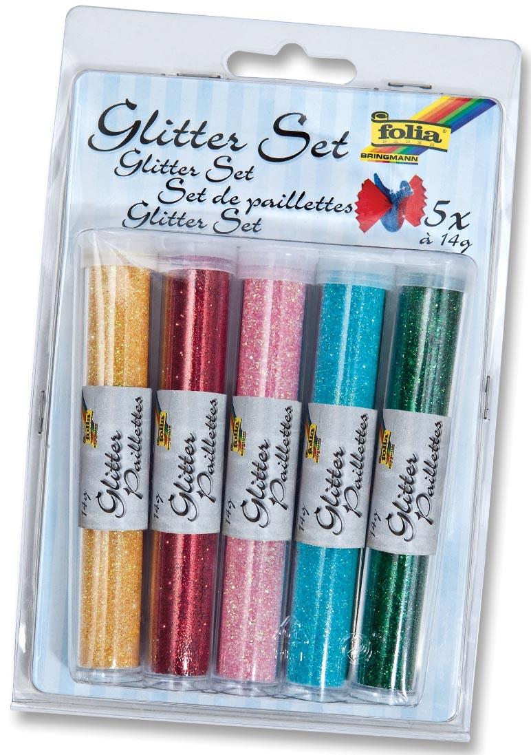 Folia glitterpoeder blauw, groen, roze, rood en geel