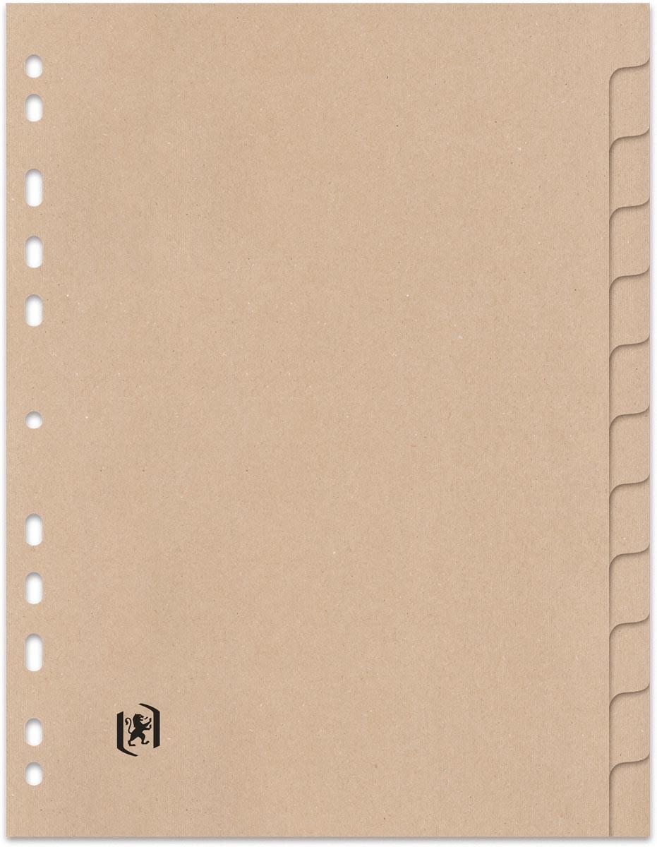 OXFORD Touareg tabbladen, formaat A4, uit karton, onbedrukt, 11-gaatsperforatie, 12 tabs