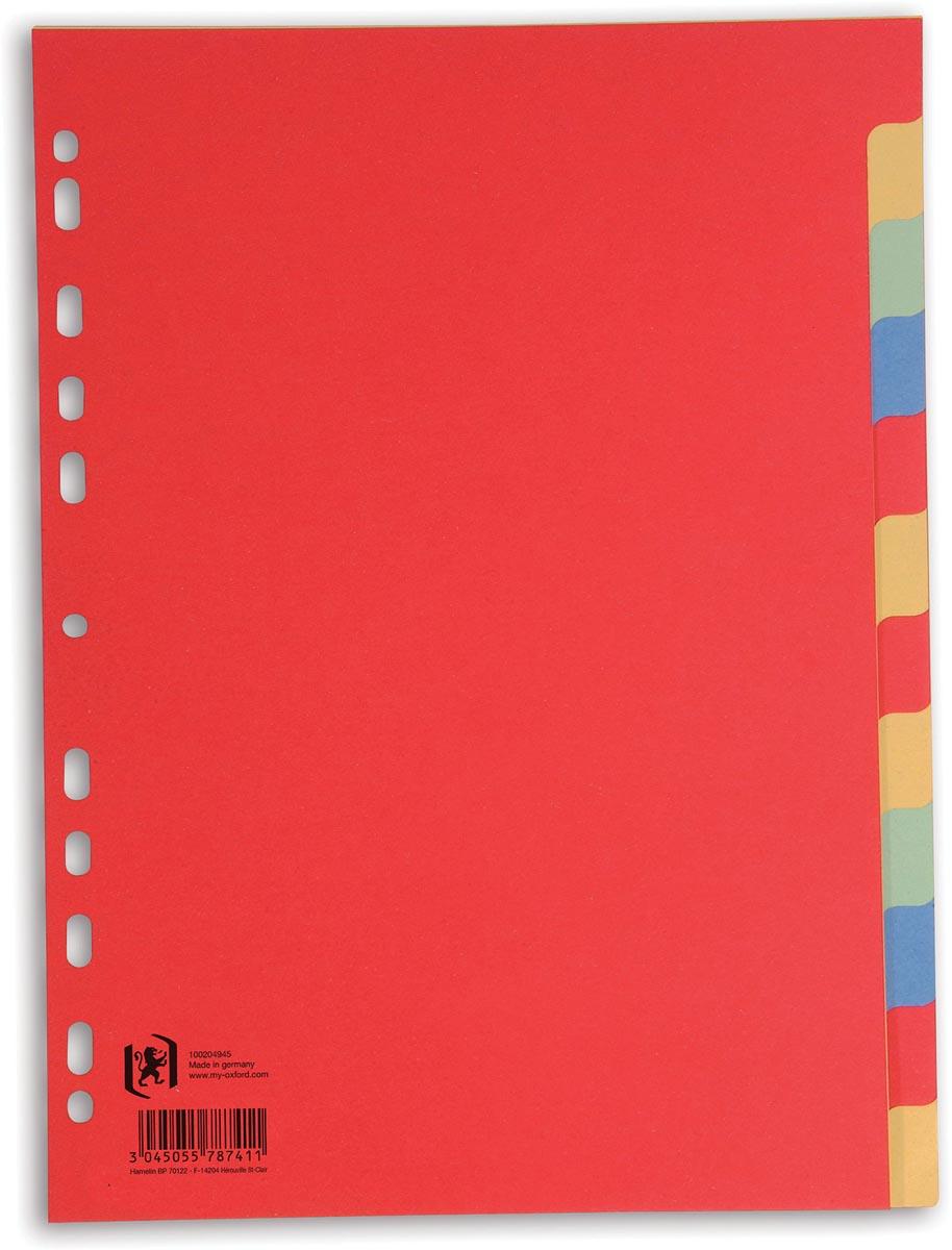 OXFORD tabbladen, formaat A4, uit karton, onbedrukt, 11-gaatsperforatie, geassorteerde kleuren, 12 t
