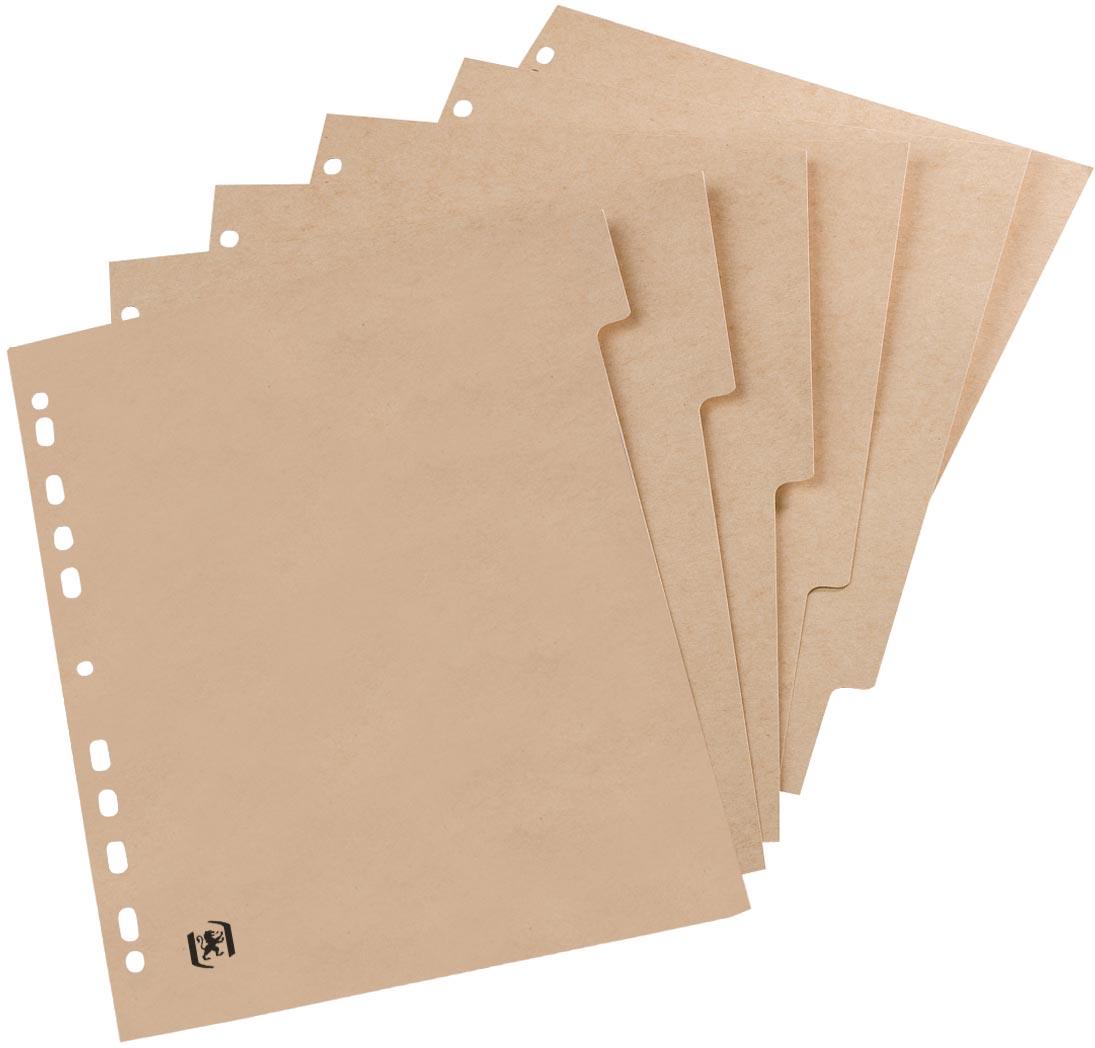 OXFORD Touareg tabbladen, formaat A4, uit karton, onbedrukt, 11-gaatsperforatie, 6 tabs