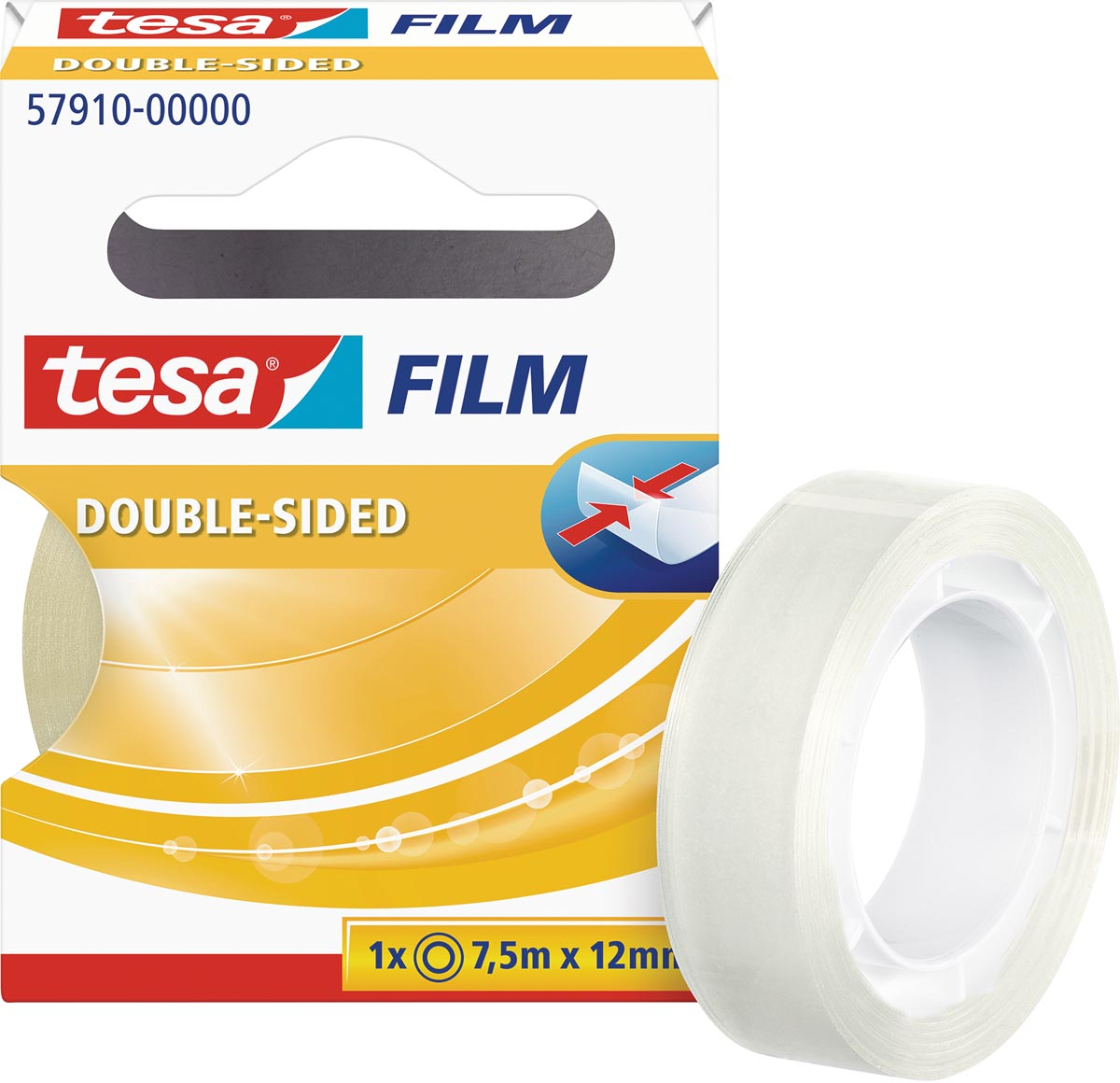 tesafilm dubbelzijdig plakband (l x b) 7.5 m x 12 mm Transparant PP 57910-0-0 TESA Inhoud: 1 rollen