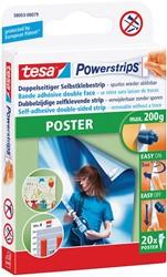 Tesa kleefstrip Powerstrips, draagkracht 200 g, voor posters, blister van 20 stuks