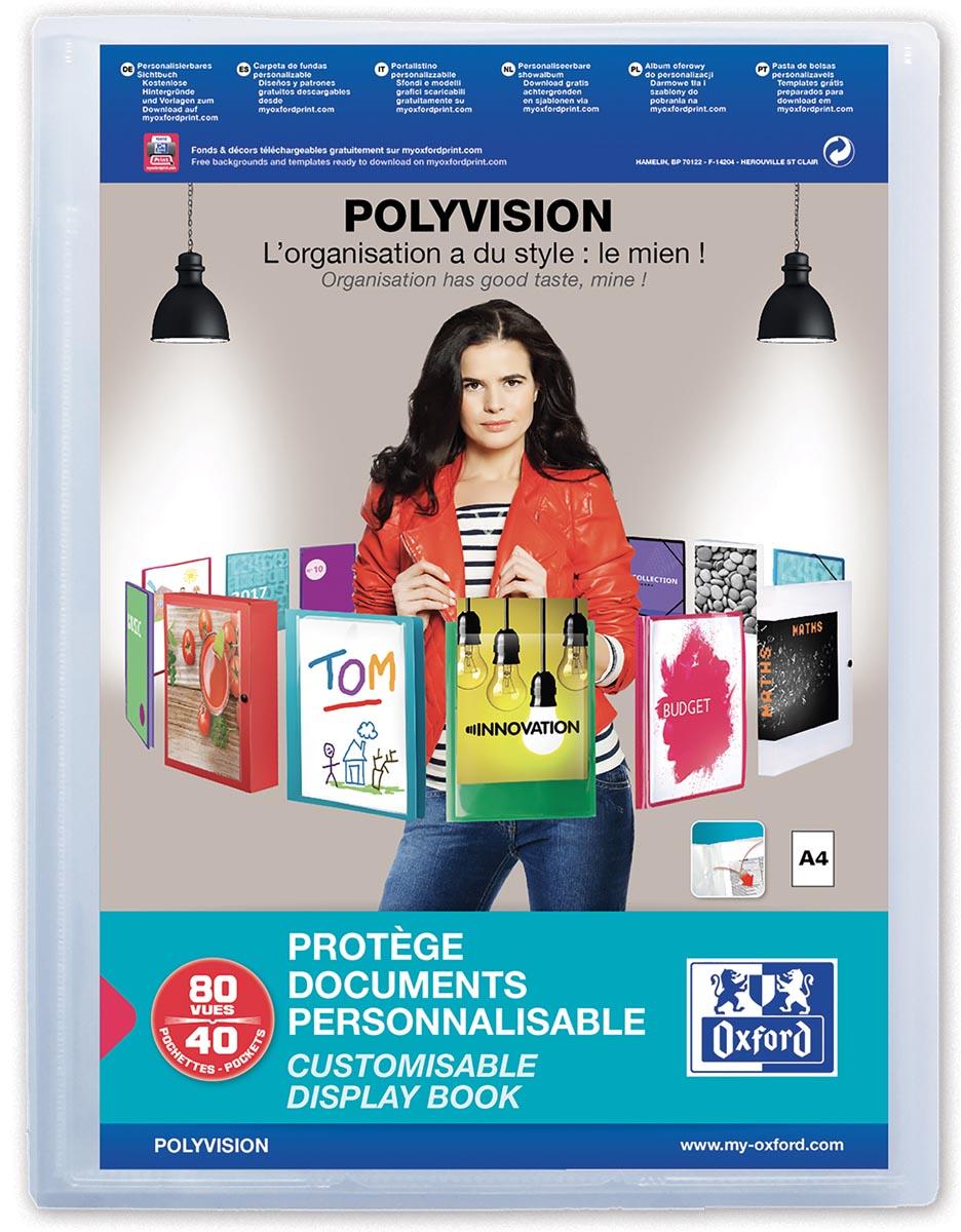 OXFORD Polyvision personaliseerbare presentatiealbum, formaat A4, uit PP, 40 tassen, transparant