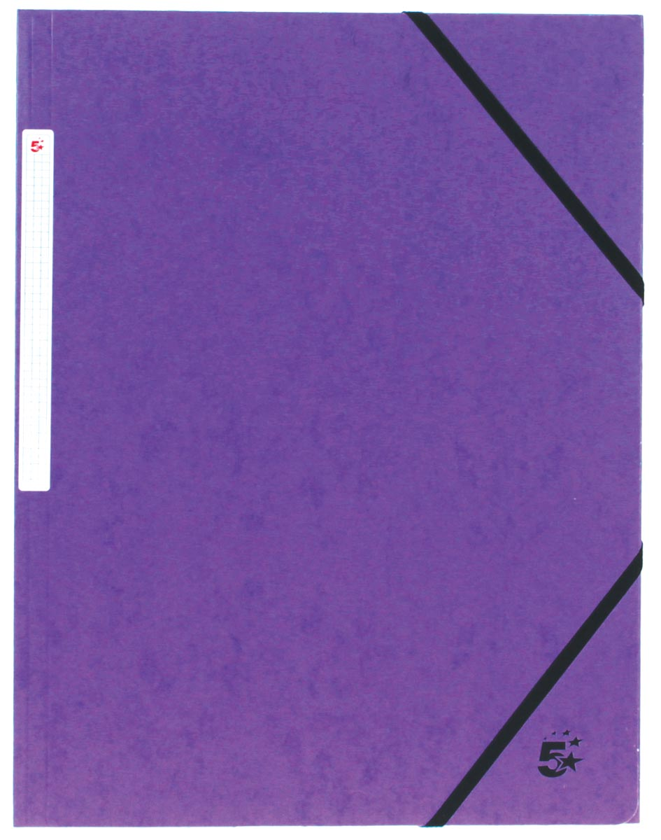 5 Star elastomap 3 kleppen, paars, pak van 10 stuks