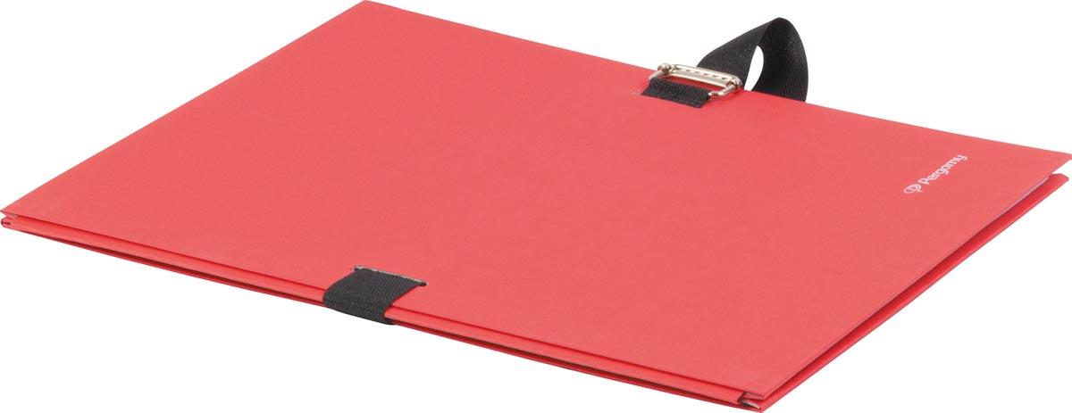 Pergamy uitschuifmap, voor ft A4, uitrekbare rug tot 13 cm, rood