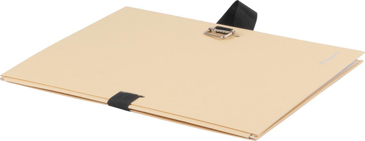 Pergamy uitschuifmap, voor ft A4, uitrekbare rug tot 13 cm, gems