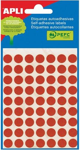 Apli ronde etiketten in etui diameter 10 mm, rood, 315 stuks, 63 per blad (2053)