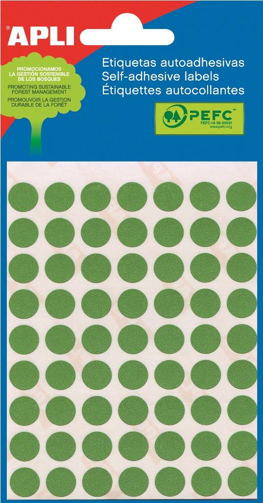Apli ronde etiketten in etui diameter 10 mm, groen, 315 stuks, 63 per blad (2054)