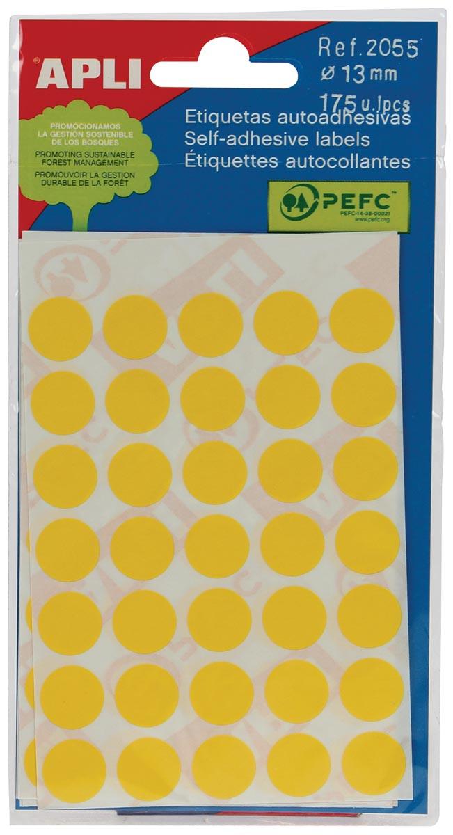 Apli ronde etiketten in etui diameter 13 mm, geel, 175 stuks, 35 per blad (2055)
