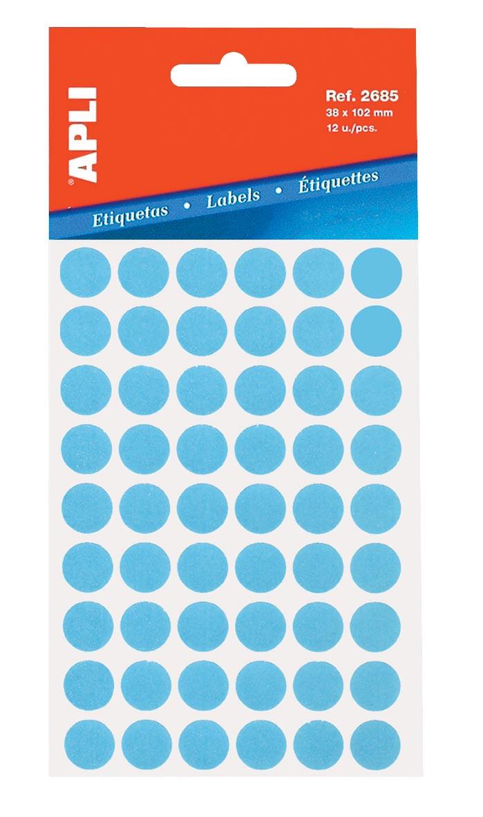 Apli ronde etiketten in etui diameter 13 mm, blauw, 175 stuks, 35 per blad (2056)